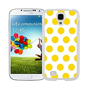 Popular Samsung Galaxy S4 Case Polka Dot White and Yellow Speck Soft TPU Rubber White Phone Cover Mobile Accessories by runtopwell
