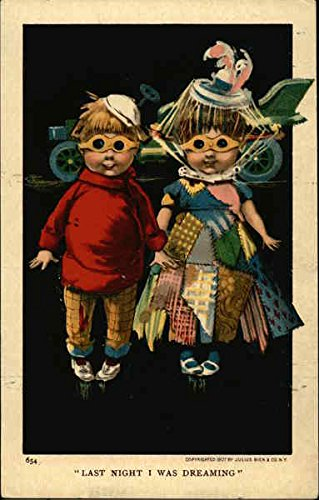 Children with Driving Goggles, Auto, Patchwork Clothing Original Vintage Postcard (Patchwork Driving)