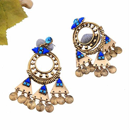 ptk12 Vintage Retro Style Coin Tassels Dangle Earring Beach Bohemian Ethnic Jewelry Belly Dance Accessory Charm Earrings by ptk12 (Image #6)