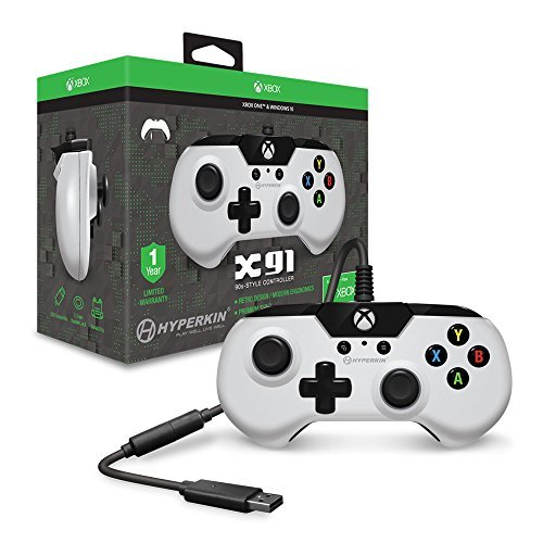 9' Classic Pie - Hyperkin X91 Wired Gaming Controller - White - for Xbox One and Windows 10 (PC and Tablet) via USB with Retro Design, 3.5mm Headset Jack, and 9 Ft. Cable