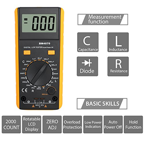 Proster LCR Meter LCD Capacitance Inductance Resistance Tester Measuring Meter Self-discharge With Overrange Display