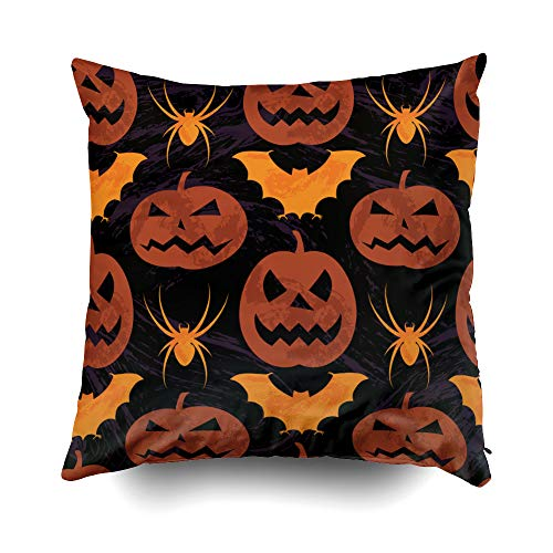 EMMTEEY Home Decor Throw Pillowcase for Sofa Cushion Cover,Halloween Halloween Pattern Decorative Square Accent Zippered and Double Sided Printing Pillow Case Covers 16X16Inch -