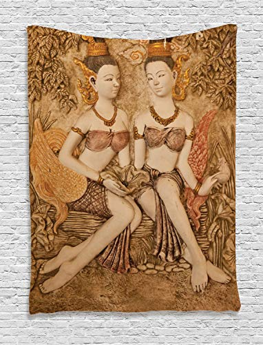 Ambesonne Sculptures Tapestry, Native Thai Style Molding Art Asian Traditional Attire Culture, Wall Hanging for Bedroom Living Room Dorm, 60 W X 80 L Inches, Mustard Beige and -