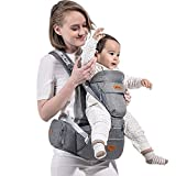 SUNVENO Baby Hipseat Carrier Large Ergonomic Baby Carrier 3in1 Baby Hip seat for Outdoor Travel (Gray)
