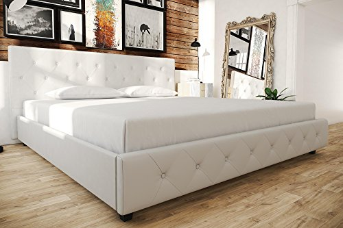 tufted bedroom furniture grey white faux leather upholstered bed button tufted diamond detailing king contemporary bedroom amazoncom