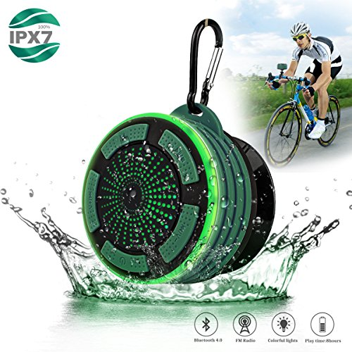 Portable Waterpoof Bluetooth Speaker Shower Radios with Light, Built in FM Radio and Detachable Suction Cup, Wireless Outdoor Speaker for Bathroom, Biking, Bicycle, Hiking, Car, Beach, Pool, Green (Radio Bike)
