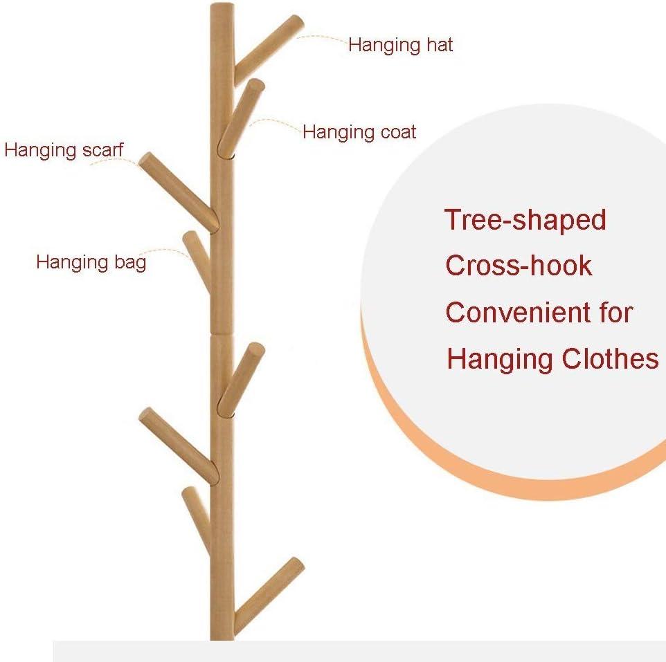 Elogoog New Coat Rack Free Standing with 8 Hooks Wood Coat Rack Wood Hall Tree Wooden Coat Hat Tree Hallway Entryway Coat Hanger Hook Stand for Clothes Khaki