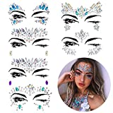 Kyerivs Face Jewels Stickers Women Crystal Rhinestone Multicolor Crystals Sticker Temporary Stickers Forehead Body Decorations& Freebie Inside (Pattern Set 2)