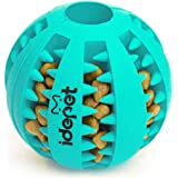 Idepet Dog Toy Ball, Nontoxic Bite Resistant Toy Ball for Pet Dogs Puppy Cat, Dog Pet Food Treat Feeder Chew Tooth Cleaning B