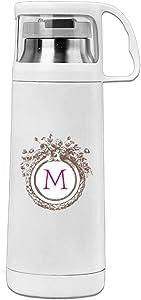 Karen Garden Vintage Monogram Stainless Steel Vacuum Insulated Water Bottle Leak Proof Handled Mug White,12oz