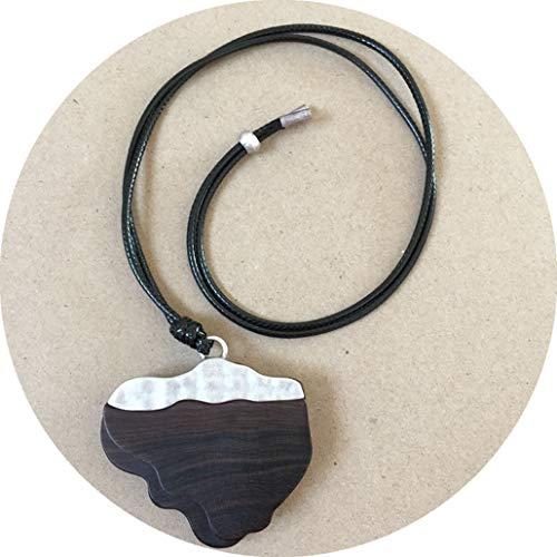 (Bergort Fashion Sandalwood Lotus Pendant Adjusted Rope Chain Trendy Necklace Women Men)