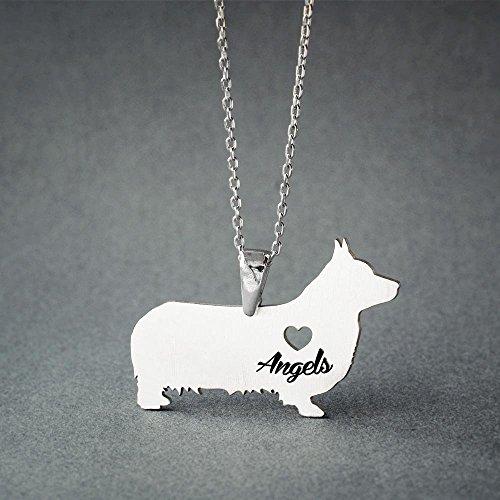 (Personalised Pembroke Welsh Corgi Necklace - Pembroke Welsh Corgi Name Jewelry - Dog Jewelry - Dog breed Necklace - Dog Necklaces)