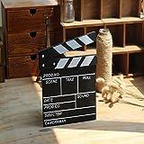 """Sherlcoker 7.8""""x8""""/20cm x 21cm Wooden Clapboard Director's Film Movie Clapper Boards Slate (Black)"""