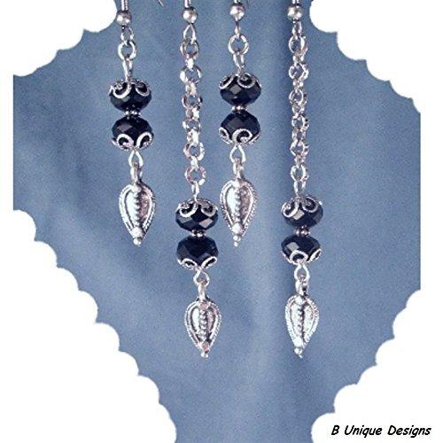 Sterling Silver Rolo Ring - Black Onyx Silver Rolo Chain Drop Filigree Earrings, Unique Women's Fashion Jewelry Handmade Gift