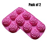(US) BAKER DEPOT Silicone Mold for Handmade Soap, Cake, Jelly, Pudding, Chocolate, 6 Cavity Rose Design, Set of 2
