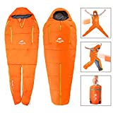 sleeping bag - OUTERDO Camping Sleeping Bag [82x30inches] Nylon Grid Cloth Body Shape Innovative Envelope Mummy Bag(59F) For Camping, Backpacking, Travel- Cold Weather 3-4 Season Orange Red