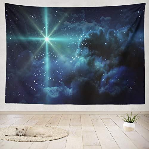 Collection Nativity Bethlehem (ONELZ Decor Collection, Starry Night Star Night Starry Christmas Nativity Birth Sky Jesus Cross Bedroom Living Room Dorm Wall Hanging Tapestry 60