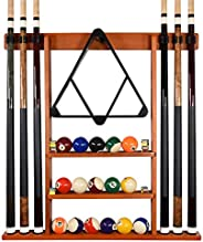 Billiards Xpress Pool Cue Rack - Pool Stick Holder Wall Mount With 16 Ball Holders & 6 Pack Of Chalk - Rub