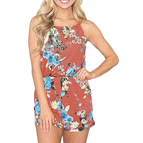 Women Rompers Floral Sleeveless Casual Tops Shorts Two Piece Outfits Jumpsuits Playsuits ()