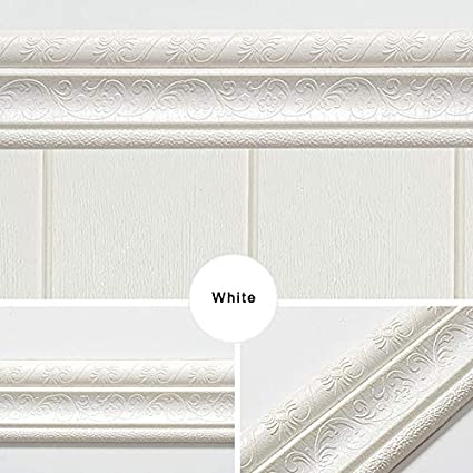 TOPCL Blanco resistente al agua Moldura de pared para borde de rodapi/é A autoadhesivo dise/ño 3D