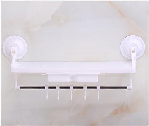 blanc /Combo /étag/ère de salle de bain avec 5/crochets Plastique ABS puissante Ventouse Support pour Caddy Panier de douche pour shampooing /étag/ère murale de cuisine Panier de rangement organiseur/ With 2