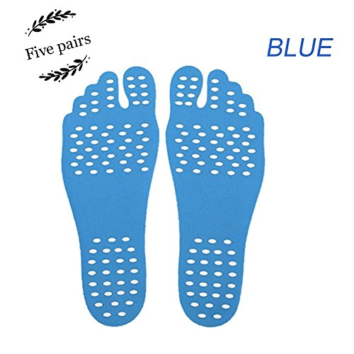 Adhesive Stick On Feet Pads - Invisible Shoes for Water, Barefoot Shoes, Nakefit Stick on Foot Soles with Anti-slip and Waterproof Design for SPA, Barefoot Lover, Summer Activities(5 Pairs)