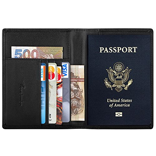 Travelambo RFID Blocking Genuine Leather Passport Holder Wallet Cover Case for Travel Men and Women in Color Black