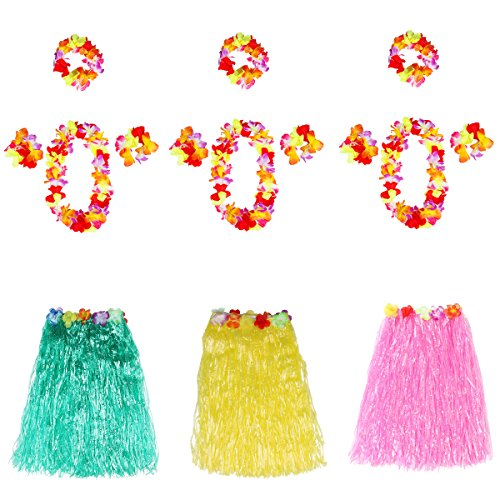Themed Dance Costumes (Luau Party Supplies,Hawaiian Hibiscus Colorful Silk Faux Flowers Hula Grass Skirt Party Beach Dance Dress for Costume /Holiday /Pool Party, Events, Birthdays, Celebration)