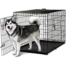 Folding Dog Pet Cage Steel Kennel 2 Door Crates with Divider and Tray for Pet Cat Dog Puppy Black (48inch)