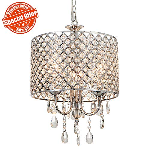 SOTTAE 3 Lights Modern Chrome Finish Crystal Beaded Drum Shade Pendant Light, Chandelier for Living Room, Dining Room For Sale