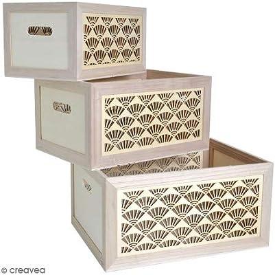 Cajas de madera con asas de madera, para decorar (20, 25, 30 cm, 3 ...