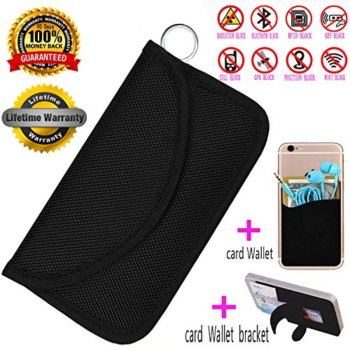 BEST-YXG Faraday Bag,100% Anti-Spying Anti-Tracking GPS RFID Signal Blocker Bag for Cell Phone Privacy Protection and Car Key FOB, Healthy Handset Privacy Protection Travel & Data Security(Black) (Best Cell Phone For Privacy)