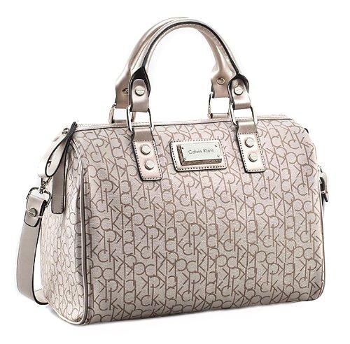 Calvin Klein Simone Ck Coated Logo Signature Satchel Handbag Champagne 36011003