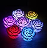 Domire 12 Pcs Fancy Colorful Changing LED Rose Flower Romantic Wedding Decoration Party Lamp Candle lights Make a Wish Lights