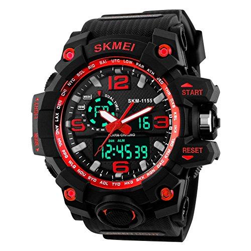 SKMEI 30M Waterproof Blue Light LED Watch (Red) - 5