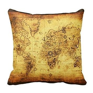 Amazon vintage old gold world map decor cushion pillow cushion vintage old gold world map decor cushion pillow cushion cover fashion home decorative pillowcase cotton polyester gumiabroncs Gallery