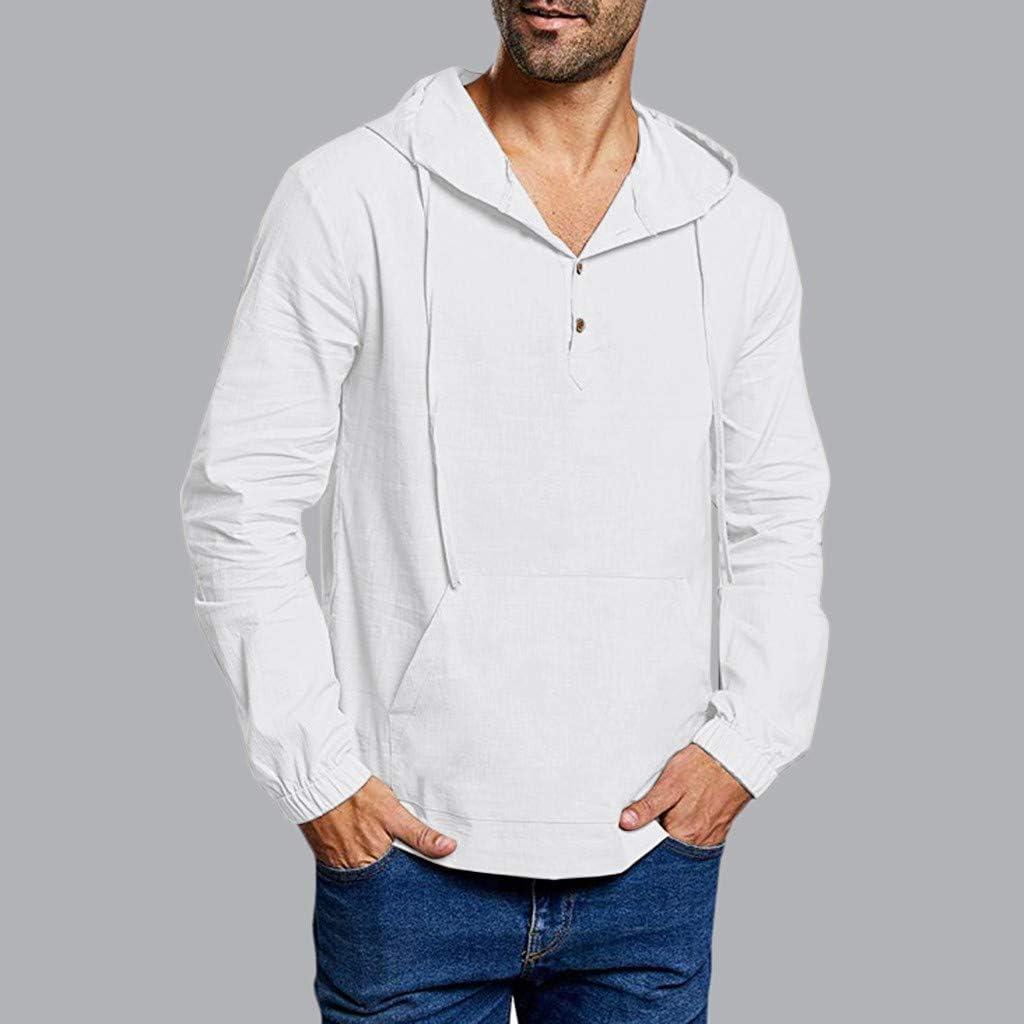 TUDUZ Camiseta Hombre Manga Larga Camisa Mezcla De Algodón Top ...