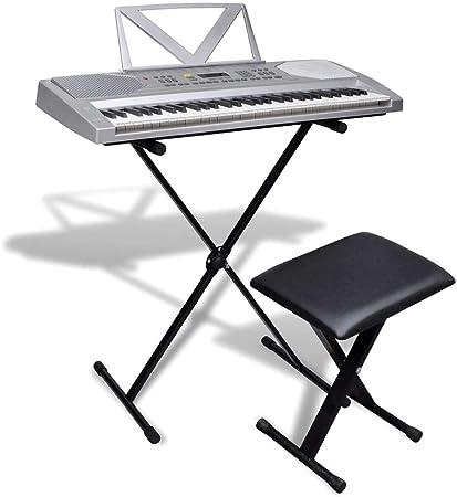 vidaXL Set 61 Teclas Piano Eléctrico +Soporte Ajustable + ...