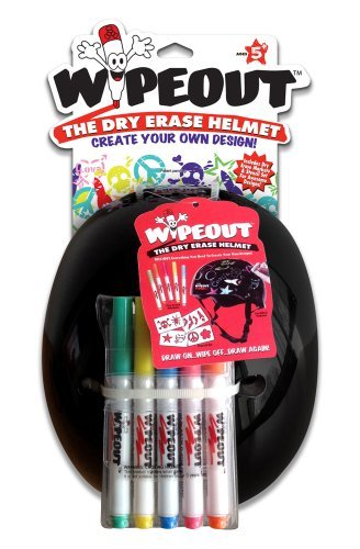 Wipeout Dry Erase Helmet, Black, Medium/5+ Years by Wipeout