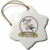 3dRose LLC orn_103567_1 Porcelain Snowflake Ornament, 3-Inch, ''Funny Worlds Greatest Soccer Coach Occupation Job Cartoon''
