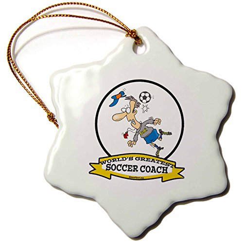 3dRose LLC orn_103567_1 Porcelain Snowflake Ornament, 3-Inch, ''Funny Worlds Greatest Soccer Coach Occupation Job Cartoon'' by 3dRose