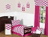 Sweet Jojo Designs 5-Piece Hot Pink and White Chevron Girls Toddler Bedding Zig Zag Set