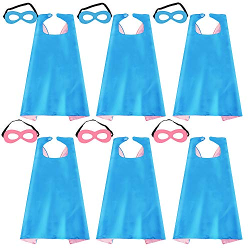 - Kids Superhero Capes and Masks Halloween Dress up for Girls Super Hero Party Favors Blue-Pink