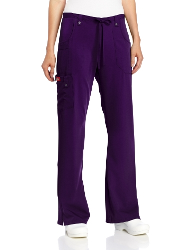 Dickies Women's Xtreme Stretch Fit Drawstring Flare Leg Pant, Eggplant, Small