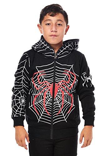 Boys Kids Children Youth Great Spider Man Mask Zipper Hoodies (6, Black (HK91118))