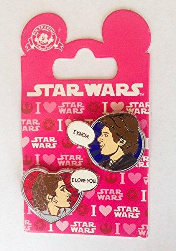 Star Wars Disney Pin 113240 Han Solo and Princess Leia Valentines 2016 I love you I know pin set ()