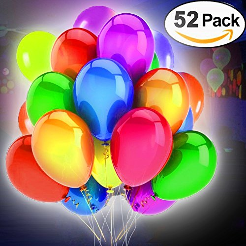 Price comparison product image 52 Pack LED Balloons Light Up Toys Flashing Party Supplies Favors Sets Mixed Color Blinking Grow Balloons Idea for Parties Birthday Wedding Decoration Valentine's Day Gift by iCooLive