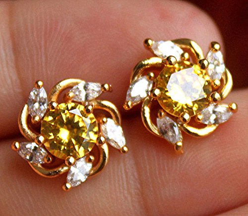ld Filled- Windmill Citrine Topaz Gemstone Lady Stud Party Earrings ()
