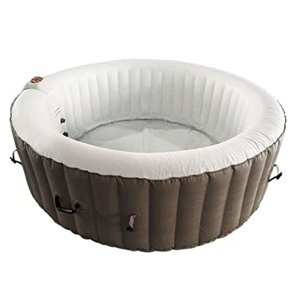 Amazon.com: ALEKO HTIR6BRW Spa inflable redondo con tapa ...