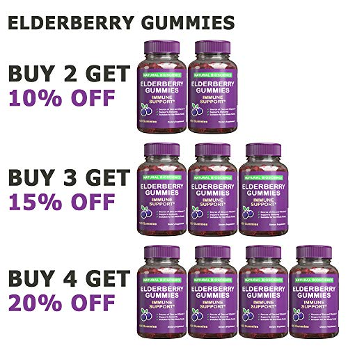 Sambucus Elderberry Gummies Family Size, 180 Gummies, for Children & Adults, with Vitamin C, Zinc & Black Elderberry Extract, Natural Herbal Supplement with Plant Pectin, Immune Support, Great Taste by Natural BioScience (Image #1)
